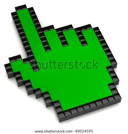 green hand cursor - stock photo
