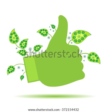 green hand with leafs-  thumb showing up