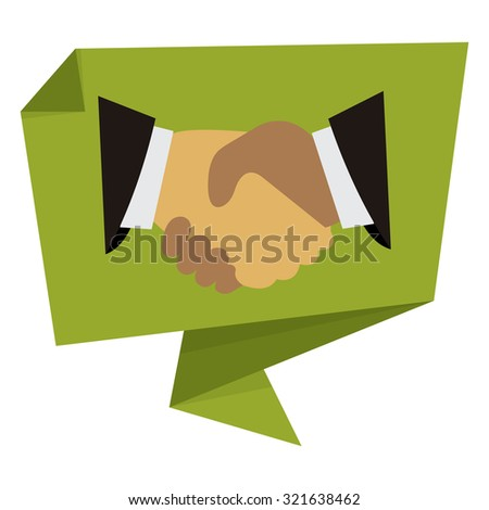 Green Handshake, Hand Holding Paper Origami Speech Bubble or Speech Balloon Infographics Sticker, Label, Sign or Icon Isolated on White Background - stock photo