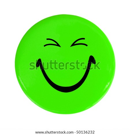 Green happy face button - stock photo
