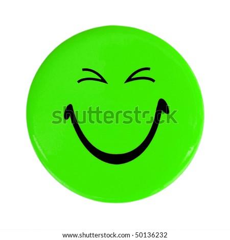 Green happy face button - stock photo