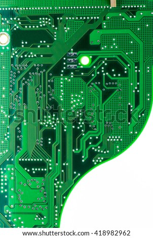 green hard drive pcb board with copy-space - stock photo