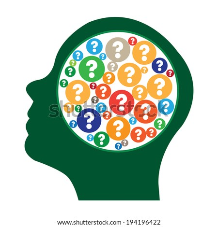 Green Head With Group of Colorful Question Mark Icon in Brain Isolated on White Background - stock photo