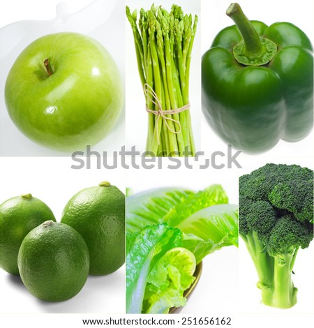 green healthy food collage collection nested on white frame - stock photo
