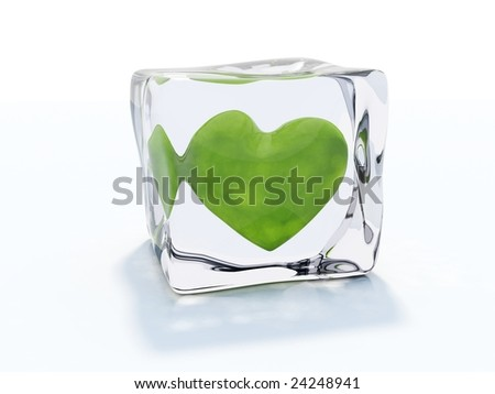 Green heart frozen in ice cube isolated on white - stock photo