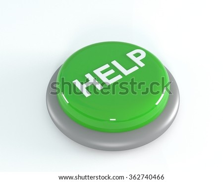 Green help button, 3d illustration - stock photo