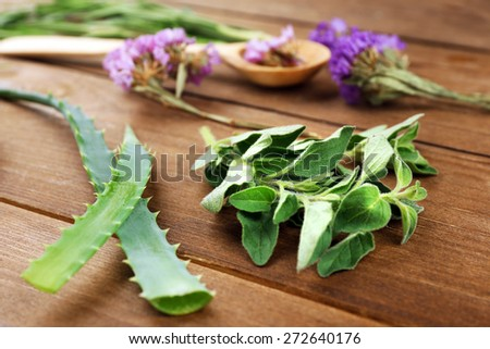 Green herbs and leaves on wooden  table, closeup - stock photo