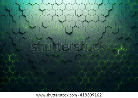 Green hexagon pattern. 3D Rendering - stock photo