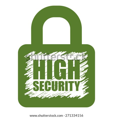Green High Security Lock Banner, Sign, Label or Icon Isolated on White Background - stock photo