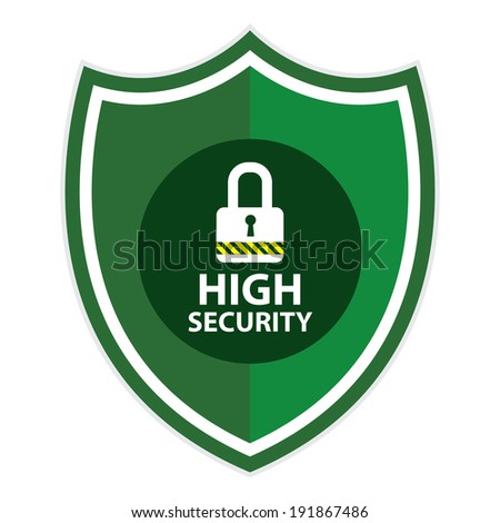 Green High Security Shield, Icon, Label, Sticker or Badge Isolated on White Background  - stock photo