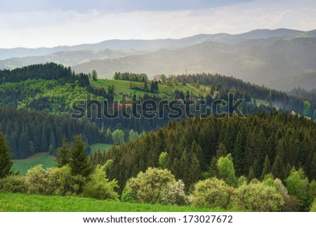Green highland hills countryside with meadows and forests - stock photo