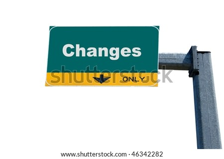Green highway billboard the word of change on it - stock photo
