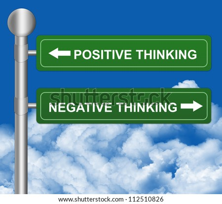 Green Highway Street Sign Pointing to Positive Thinking and Negative Thinking in Blue Sky Background For Selection Concept - stock photo