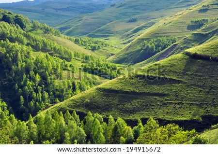 Green hills and a winding valley. Transylvania - stock photo