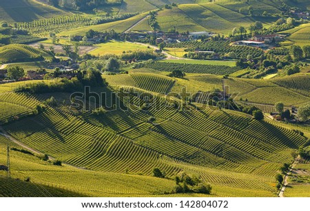 Green hills and vineyards of Langhe in early spring morning in Piedmont, Italy (view from above). - stock photo
