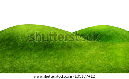 Green hills on white - stock photo