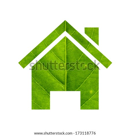 Green home made of green leaf ,isolated on white background. green eco energy concept - stock photo