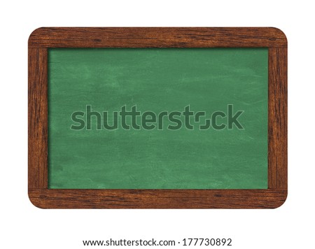 Green horizontal chalkboard with wooden frame including clipping path