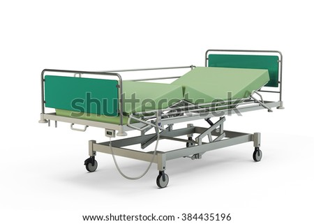 Green hospital bed with recliner and side guards, 3D illustration, isolated against a white background - stock photo