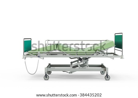 Green hospital bed with recliner and side guards, 3D illustration, isolated against a white background