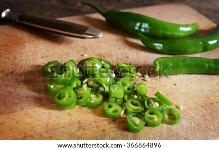 Green hot peppers - stock photo