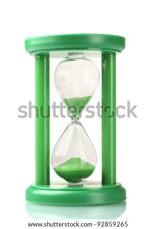 green hourglass isolated on white - stock photo