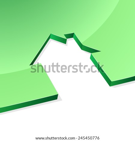 Green house 3D shape concept image with white copy space. - stock photo