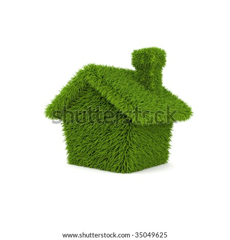 green house ecology on white background - stock photo
