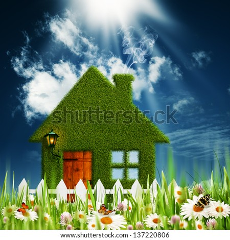 Green House. Environmental backgrounds for your design - stock photo