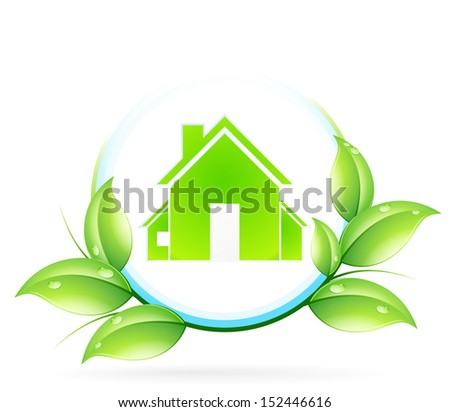 Green House Icon with Leaves