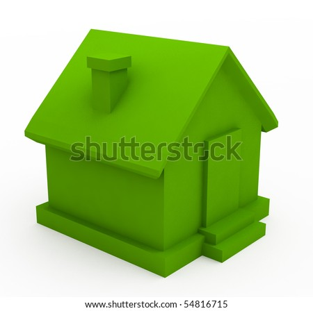 Green house in the foreground - stock photo