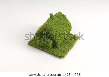 Green house on a white background