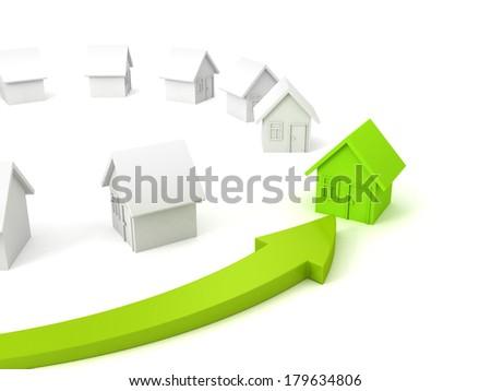 green house real estate concept choice arrow - stock photo