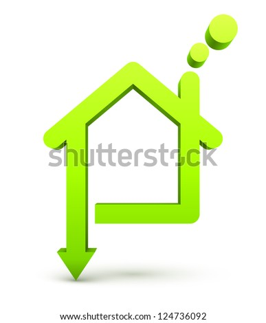 Green house with arrow. - stock photo
