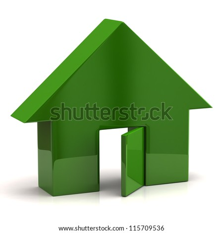 Green house with open doors - stock photo