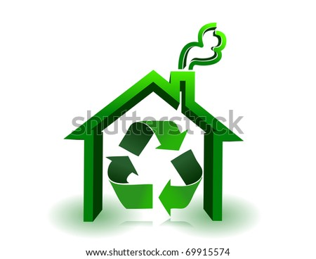Green house with recycle sign in a white background