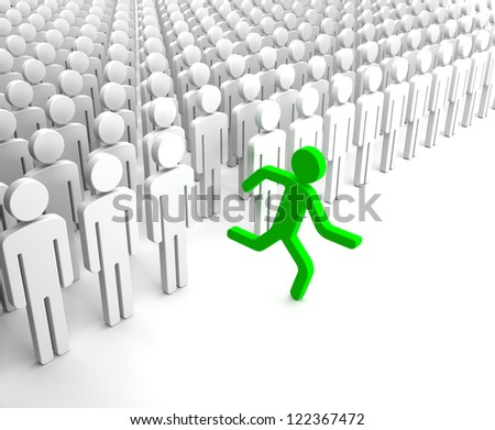 Green Human Figure Running from the Crowd of Gray Indifferent Humans - stock photo