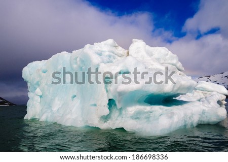 Green iceberg floating in the Arctic Ocean, Hornsund, Norway