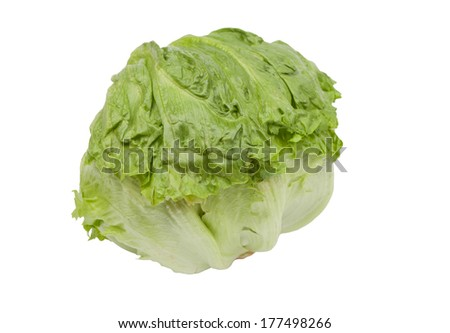 Green iceberg lettuce isolated on a white background - stock photo