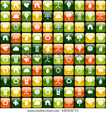 Green icon buttons for eco friendly apps seamless pattern background.