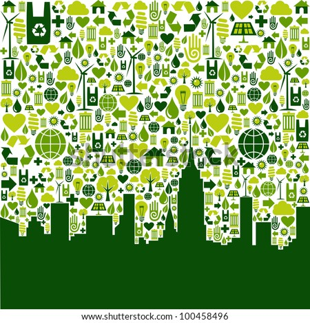 Green icon collection in city silhouette background.