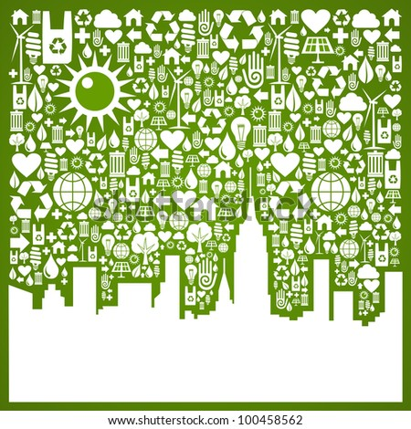 Green icons set in city silhouette background. - stock photo