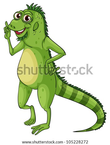 Green iguana on a white background - EPS VECTOR format also available in my portfolio.