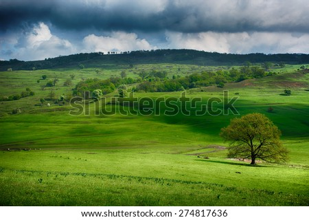 Green II. Transylvanian hills on spring near Viscri. Dramatic interpretation.  - stock photo