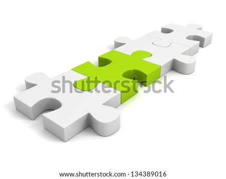 green individual puzzle on white background - stock photo