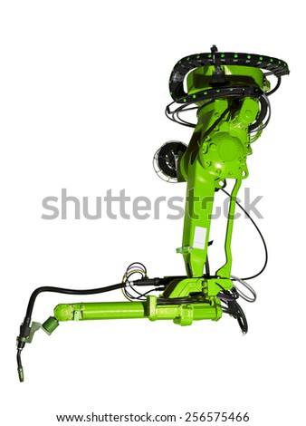 Green Industrial machine part on white background - stock photo