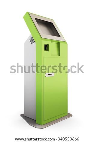Green information kiosk. Information terminal for receiving banknotes. 3d render image. - stock photo
