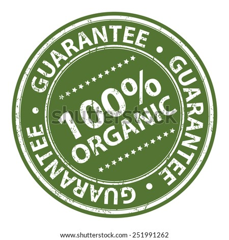 Green Information Material, Circle Brown 100% Organic Guarantee Sticker, Rubber Stamp, Icon, Tag or Label Isolated on White Background - stock photo