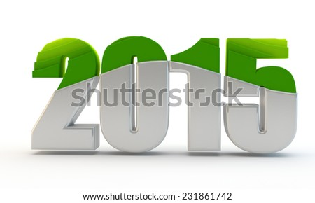 green inscription 2015 with step effector - stock photo