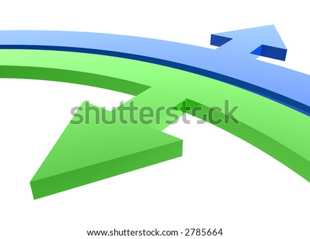 green inside and blue outside arrows - stock photo